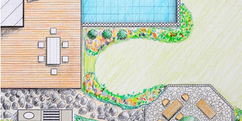 Blueprint of a landscape project